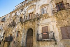 The architecture of the house with balconies in Italy stock photo