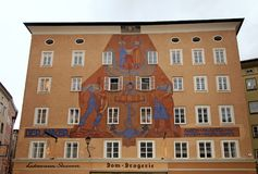Architecture of the house with historical mural,Salzburg, Austria. stock image