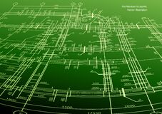 Architecture house plan green background. Vector Royalty Free Stock Image