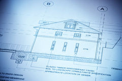 Architecture House Plans. Architectural plans to build a house with a blue tone Royalty Free Stock Image