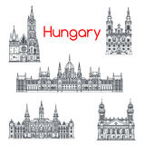 Architecture of Hungary buildings vector icons Stock Photos