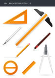 Architecture icons _01. Architecture and design icons isolated on white. Drawing tools. gh icons series Stock Images
