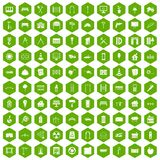 100 architecture icons hexagon green Royalty Free Stock Photo