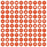100 architecture icons hexagon orange Stock Photo