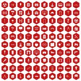 100 architecture icons hexagon red. 100 architecture icons set in red hexagon isolated vector illustration Stock Image