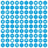 100 architecture icons set blue. 100 architecture icons set in blue hexagon isolated vector illustration stock illustration