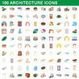 100 architecture icons set, cartoon style Royalty Free Stock Images