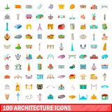 100 architecture icons set, cartoon style. 100 architecture icons set in cartoon style for any design vector illustration Royalty Free Stock Photography