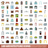 100 architecture icons set, flat style. 100 architecture icons set in flat style for any design vector illustration Royalty Free Stock Photos