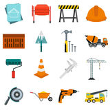 Architecture icons set, flat style Royalty Free Stock Photos