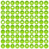 100 architecture icons set green circle. Isolated on white background vector illustration Royalty Free Stock Photo