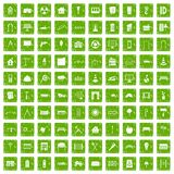 100 architecture icons set grunge green Stock Photography