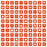 100 architecture icons set grunge orange. 100 architecture icons set in grunge style orange color isolated on white background vector illustration Stock Photos