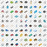 100 architecture icons set, isometric 3d style Stock Photo