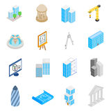 Architecture Icons set, isometric 3d style Royalty Free Stock Photography