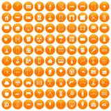 100 architecture icons set orange. 100 architecture icons set in orange circle isolated on white vector illustration royalty free illustration