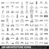 100 architecture icons set, outline style Stock Image