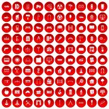 100 architecture icons set red. 100 architecture icons set in red circle isolated on white vector illustration Stock Photo