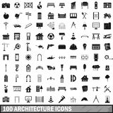 100 architecture icons set, simple style Stock Photography