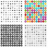 100 architecture icons set variant. 100 architecture icons set in 4 variant for any web design isolated on white stock illustration