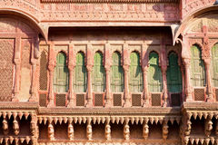 Architecture of India. Front of the old mansion with balconies Royalty Free Stock Image