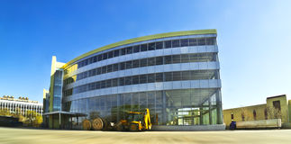 Architecture. Industrial metal- glassy building, fisheye royalty free stock photo