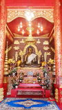 Architecture and interior decoration of a Buddhist temple. Stock Photos