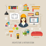 Architecture and interior design concept. Business women archite Stock Image