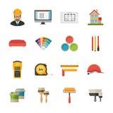 Architecture, Interior design and repairs vector flat desing ico Stock Image