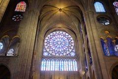Notre-Dame de Paris. The architecture of the interior of the Notre Dame de Paris, France stock photo