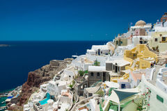 Architecture of  island of Santorini,. The most romantic island in the world, Greece. Hotels in Santorini. Walking the streets of Fira summer day, Travel to Stock Image