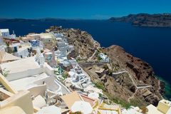 Architecture of  island of Santorini,. The most romantic island in the world, Greece. Hotels in Santorini. Walking the streets of Fira summer day, Travel to Stock Photos