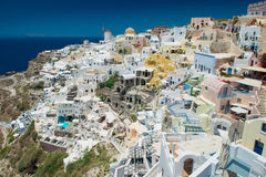 Architecture of  island of Santorini,. The most romantic island in the world, Greece. Hotels in Santorini. Walking the streets of Fira summer day, Travel to Stock Photo