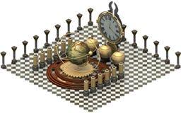 Architecture isométrique, machine de temps rendu 3d Image libre de droits