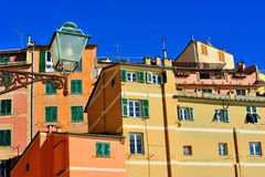 Architecture Italian fishing town Camogli, Liguria. Colorful  facades and architectural details of  Italian town Stock Images