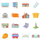 Architecture items icons set, cartoon style Royalty Free Stock Photo