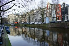 A nice view from Amsterdam's typical dutch houses stock photos