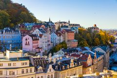 Architecture of Karlovy Vary (Karlsbad) in autumn, Czech Republi. C. It is the most visited spa town in the Czech Republic Stock Images