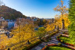 Architecture of Karlovy Vary (Karlsbad) in autumn, Czech Republi. C. It is the most visited spa town in the Czech Republic Stock Image