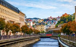 Architecture of Karlovy Vary Karlsbad, Czech Republic. It is t. He most visited spa town in the Czech Republic Royalty Free Stock Images