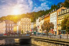 Architecture of Karlovy Vary Karlsbad, Czech Republic. It is t. He most visited spa town in the Czech Republic stock photos