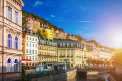 Architecture of Karlovy Vary Karlsbad, Czech Republic. It is t. He most visited spa town in the Czech Republic Stock Photography