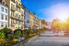 Architecture of Karlovy Vary (Karlsbad), Czech Republic. It is t. He most visited spa town in the Czech Republic Stock Images