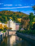 Architecture of Karlovy Vary (Karlsbad), Czech Republic. It is t. He most visited spa town in the Czech Republic Stock Photo