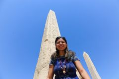 Egyptian obelisk at Karnak temple. Architecture of Karnak Temple at Luxor - Egypt Karnak temple - Most huge temple at Egypt royalty free stock images