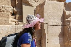 Tourist at Karnak Temple - Egypt stock image