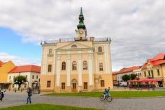 Architecture of Kezmarok, Slovakia,. KEZMAROK, SLOVAKIA - SEP 26, 2016: City hall of Kezmarok, Slovakia, a small town in Spis region, Poprad river royalty free stock photo