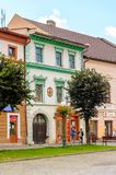 Architecture of Kezmarok, Slovakia,. KEZMAROK, SLOVAKIA - SEP 26, 2016: Colourful houses on the Main street of Kezmarok, Slovakia, a small town in Spis region royalty free stock images