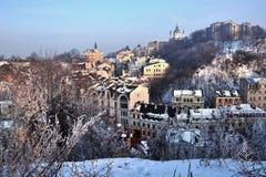 Architecture of Kiev, views of Vozdvizhenka St. Andrew`s Church Royalty Free Stock Photos