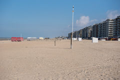 Architecture in Koksijde from the beach of the North Sea.  Royalty Free Stock Photo